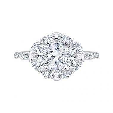 Shah Luxury 14k White Gold Diamond Semi-Mount Engagement Ring