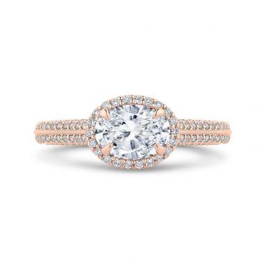 Shah 14k Rose Gold Carizza Halo Diamond Engagement Ring