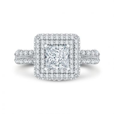 Shah 14k White Gold Carizza Halo Diamond Engagement Ring