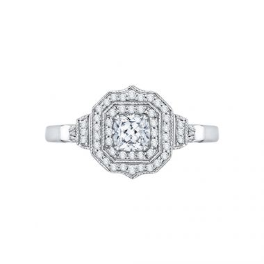 Shah Luxury 14k White Gold Diamond Halo Engagement Ring