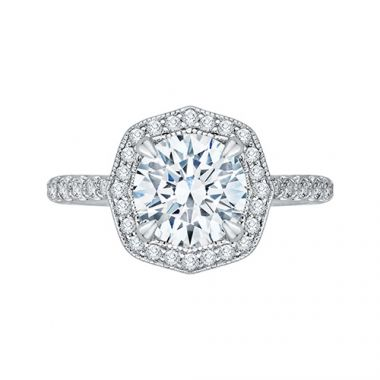 Shah Luxury Platinum Diamond Semi-Mount Engagement Ring