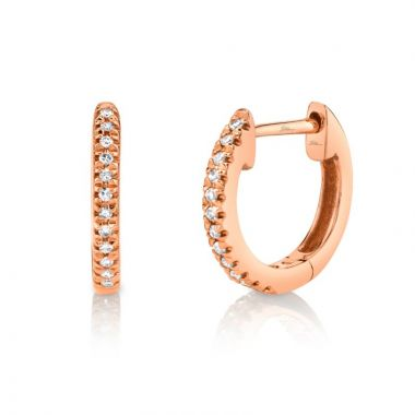 Shy Creation 14k Rose Gold Diamond Huggy Earrings