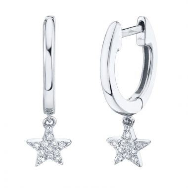 Shy Creation White 14K Gold 0.04Ct Diamond Star Huggie Earring
