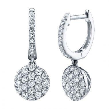 Shy Creation 14k White Gold Diamond Drop Earrings
