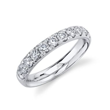 Shy Creation 14k White Gold Wedding Band