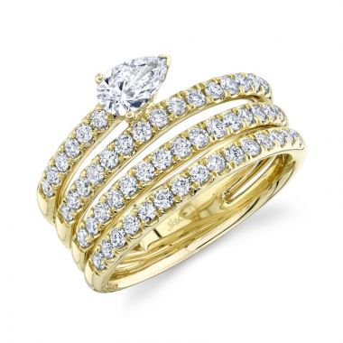 Shy Creation Yellow  1.28Ct Diamond Pear Ring