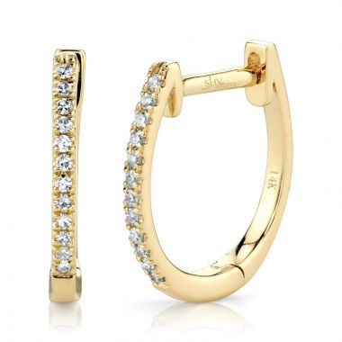Shy Creation 14k Yellow Gold Diamond Huggy Earrings
