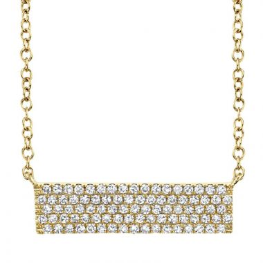 Shy Creation Yellow 14K Gold 0.25Ct Diamond Pave Necklace