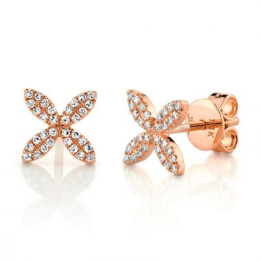 Shy Creation 14k Rose Gold Diamond Stud Earrings