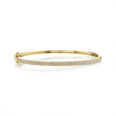 Shy Creation 14k Yellow Gold Diamond Bangle Bracelet