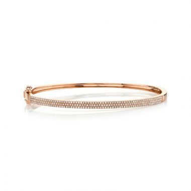 Shy Creation 14k Rose Gold Diamond Bangle Bracelet