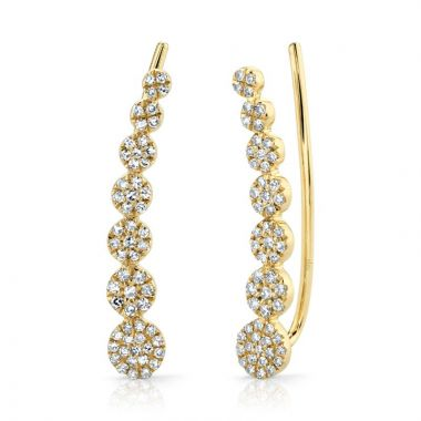 Shy Creation 14k Yellow Gold Diamond Earrings