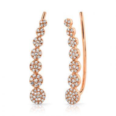 Shy Creation 14k Rose Gold Diamond Earrings