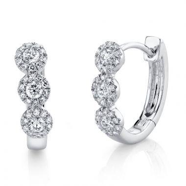 Shy Creation 14k White Gold Diamond Huggy Earrings