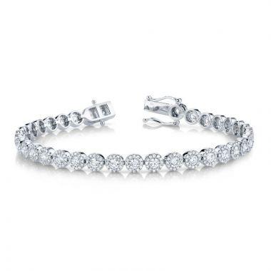 Shy Creation 14k White Gold Diamond Tennis Bracelet