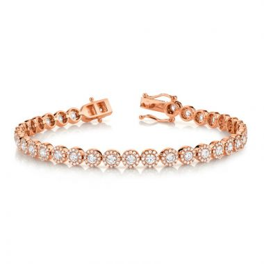 Shy Creation 14k Rose Gold Diamond Tennis Bracelet