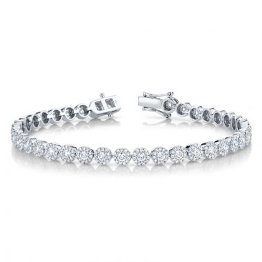 Shy Creation 14k White Gold Diamond Tennis Bracelet