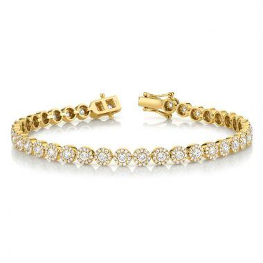 Shy Creation 14k Yellow Gold Diamond Tennis Bracelet