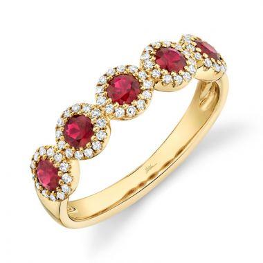 Shy Creation 14k Yellow Gold Diamond and Gemstone Ring