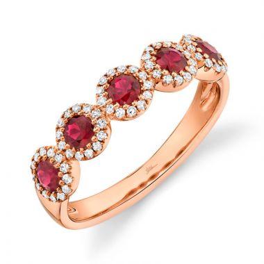 Shy Creation 14k Rose Gold Diamond and Gemstone Ring