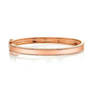 Shy Creation 14k Rose Gold Diamond Bangle Bracelet