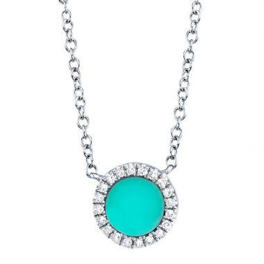Shy Creation 14k White Gold Diamond and Gemstone Necklace