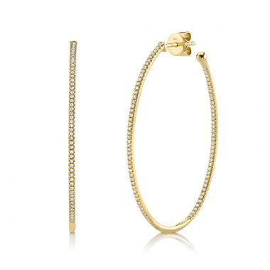 Shy Creation 14k Yellow Gold Diamond Hoop Earrings