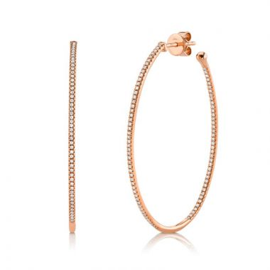 Shy Creation 14k Rose Gold Diamond Hoop Earrings