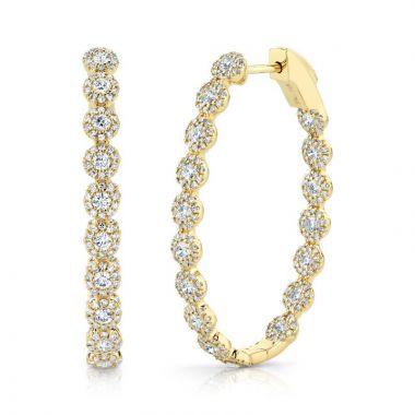 Shy Creation 14k Yellow Gold Diamond Hoop Earrings