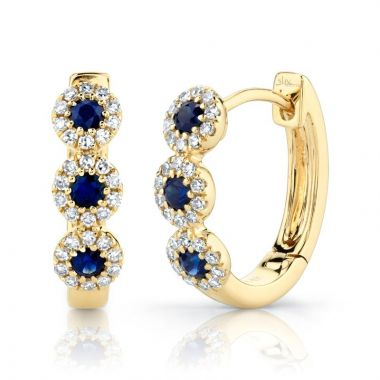 Shy Creation 14k Yellow Gold Diamond and Gemstone Huggy Earrings