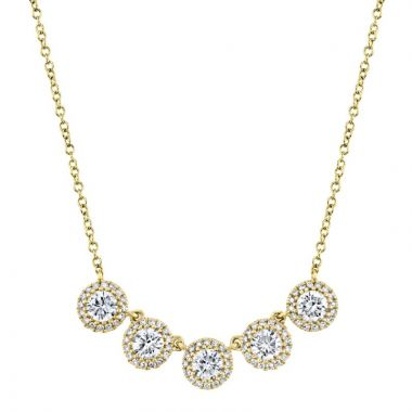 Shy Creation 14k Yellow Gold Diamond Necklace