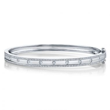 Shy Creation 14k White Gold Diamond Bangle Bracelet