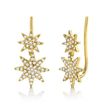 Shy Creation 14k Yellow Gold Diamond Earrings