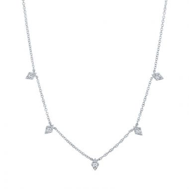 Shy Creation 14k White Gold Diamond Necklace