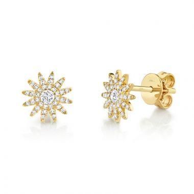 Shy Creation 14k Yellow Gold Diamond Stud Earrings