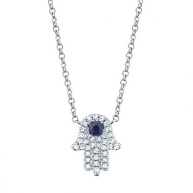Shy Creation 14k White Gold Diamond and Gemstone Necklace