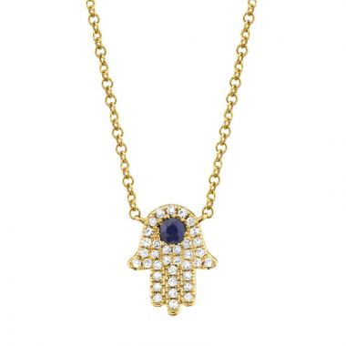 Shy Creation 14k Yellow Gold Diamond and Gemstone Necklace
