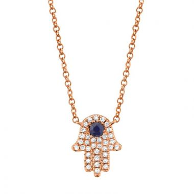 Shy Creation 14k Rose Gold Diamond and Gemstone Necklace