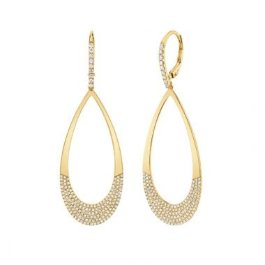 Shy Creation 14k Yellow Gold Diamond Drop Earrings