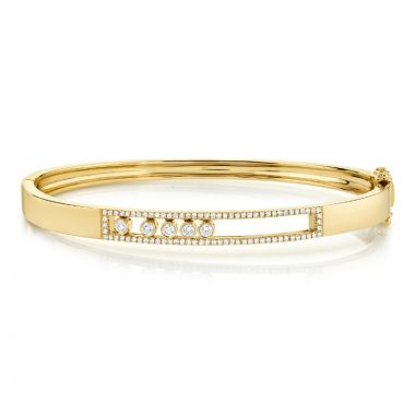 Shy Creation 14k Yellow Gold Diamond Bangle Bracelet