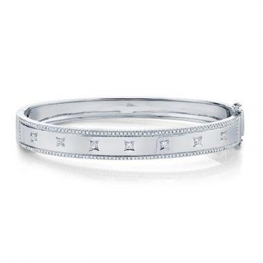 Shy Creation 14k White Gold Diamond Bangle Bracelet