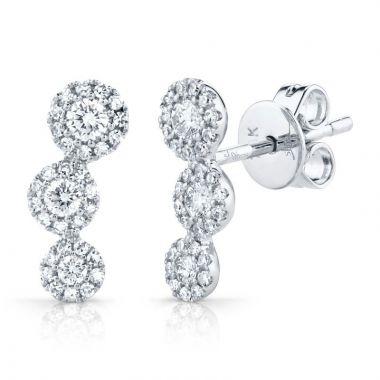 Shy Creation 14k White Gold Diamond Stud Earrings