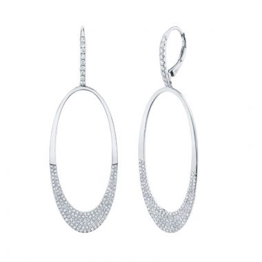 Shy Creation 14k White Gold Diamond Drop Earrings