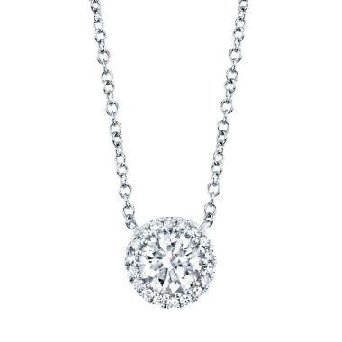 Shy Creation 14k White Gold Diamond Necklace