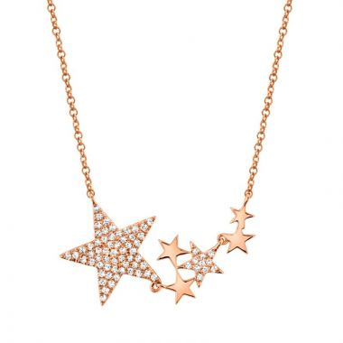 Shy Creation 14k Rose Gold Diamond Necklace
