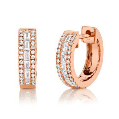 Shy Creation 14k Rose Gold Diamond Huggy Earrings