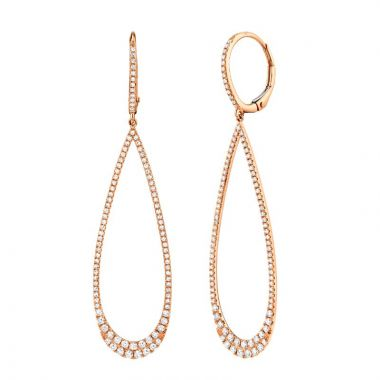 Shy Creation 14k Rose Gold Diamond Drop Earrings
