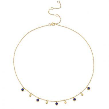 Shy Creation 14k Yellow Gold Diamond and Gemstone Necklace