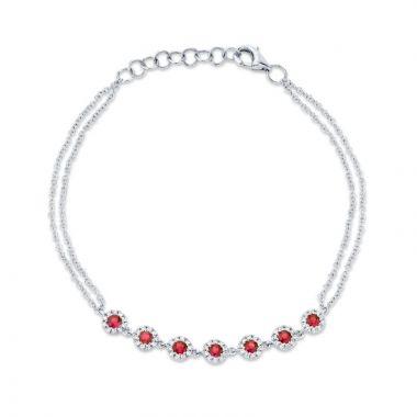 Shy Creation 14k White Gold Diamond and Gemstone Bracelet