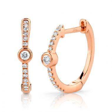 Shy Creation 14k Rose Gold Diamond Hoop Earrings